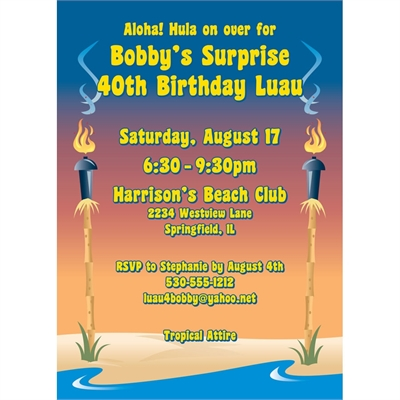 Luau Tiki Party Invitation