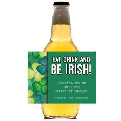 St. Patrick's Day Green Shamrocks Theme Beer Bottle Label