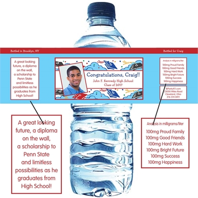 Graduation Picture Theme Water Bottle Label