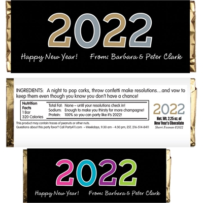 2018 New Year's Celebration Theme Candy Bar Wrapper