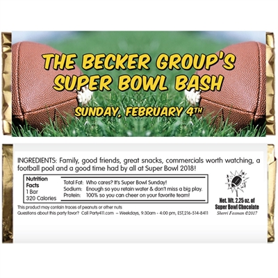 Football Bash Theme Candy Bar Wrapper