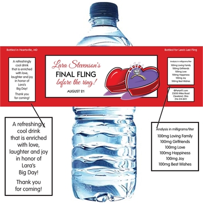 Engagment Ring Water Bottle Label