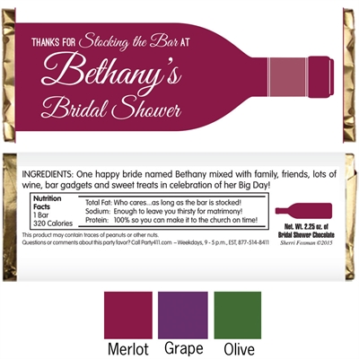 Wine Theme Shower Candy Bar Wrapper
