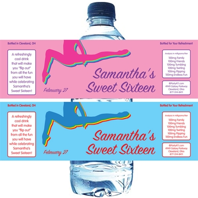 Colorful Gymnastics Theme Water Bottle Label