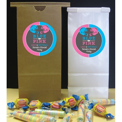 Football Theme Gender Reveal Party Favor Bag