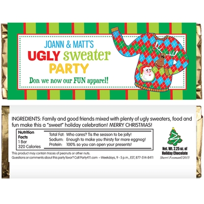 Ugly Sweater Party Candy Bar Wrapper