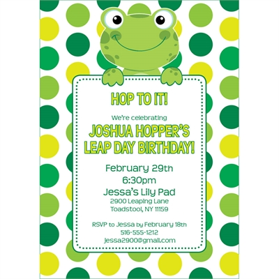 Leap Day Frog Theme Invitation