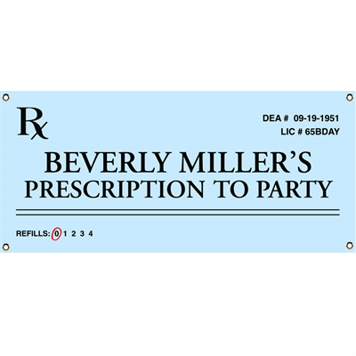 Prescription to Party Theme Banner