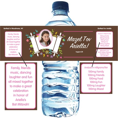Bat Mitzvah Torah Flowers Water Bottle Label