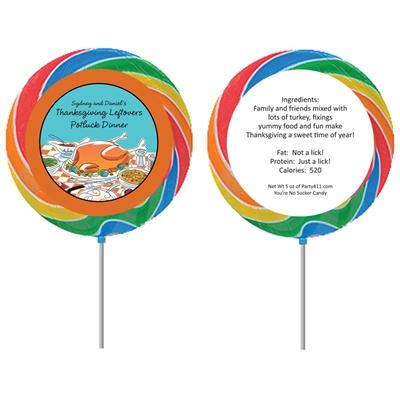 Thanksgiving Potluck Theme Custom Lollipop