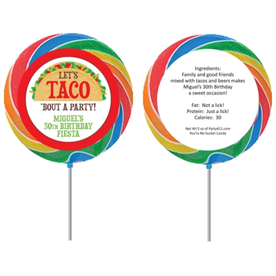 Taco Party Fiesta Theme Lollipops