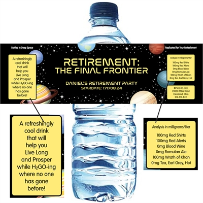 Final Frontier Retirement Party Water Bottle Label