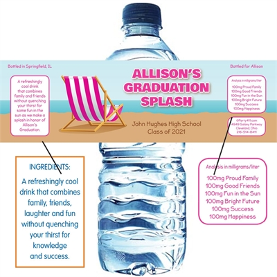 Graduation Beach Bash Water Bottle Label