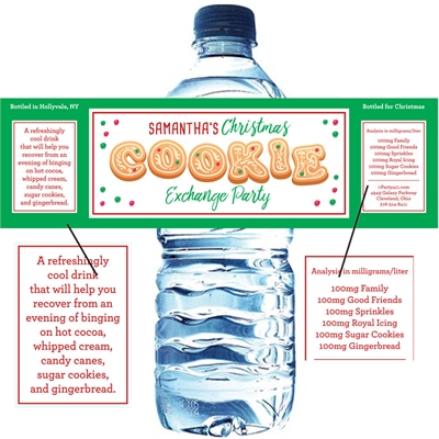 Christmas Cookie Exchange Water Bottle Label