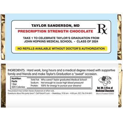Graduation Prescription Pad Theme Candy Bar Wrapper