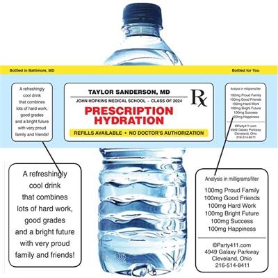 Graduation Prescription Pad Theme Water Bottle Label