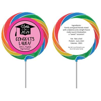 Graduation Cap Pink Theme Lollipop