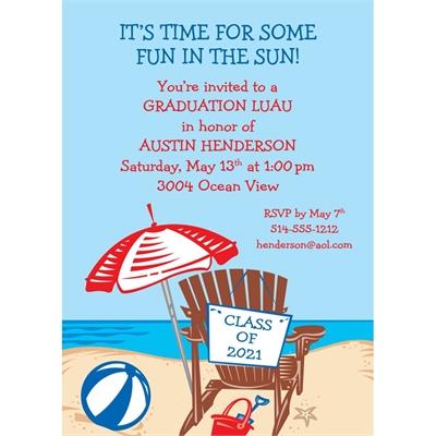 Luau Graduation Beach Invitation