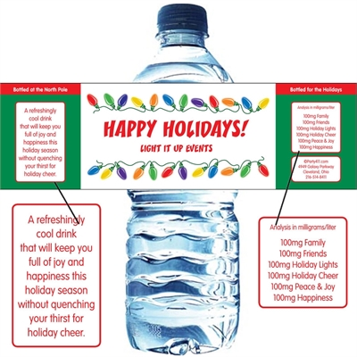 Christmas Lights Water Bottle Label
