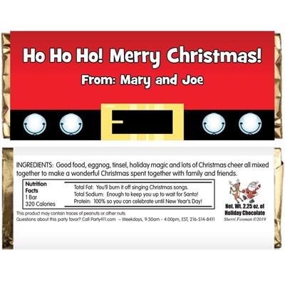 Christmas Santa Suit Theme Candy Bar Wrapper