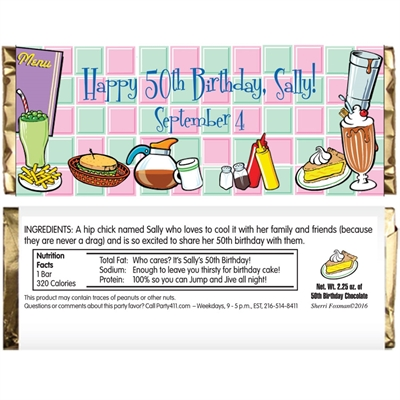 50s Diner Theme Candy Bar Wrapper