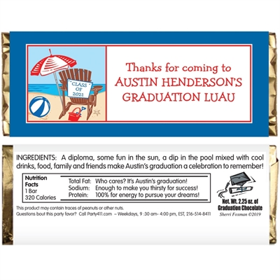 Luau Graduation Beach Theme Candy Bar Wrapper