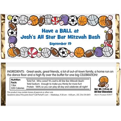 Sports Balls Theme Candy Bar Wrapper
