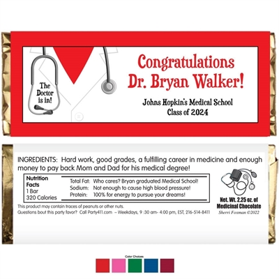 Graduation Doctor's Coat Theme Candy Bar Wrapper