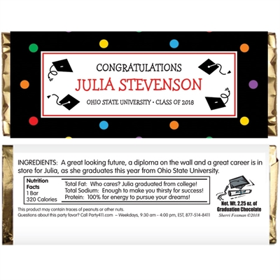 Graduation Dots Theme Candy Bar Wrapper