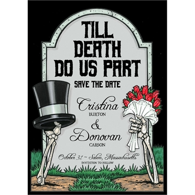 halloween tombstone wedding invitation