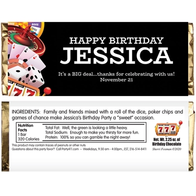 Casino Games Theme Candy Bar Wrapper