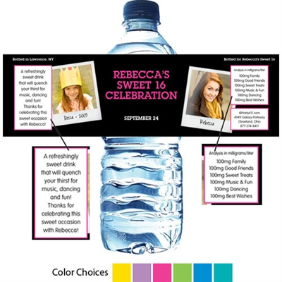 Sweet 16 Polaroid Photo Theme Water Bottle Label