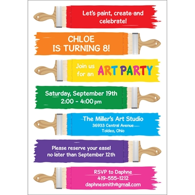 Kids Birthday Paint Party Invitation