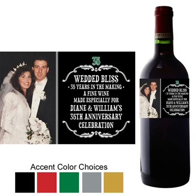 Vintage Anniversary Photo Wine Bottle Label