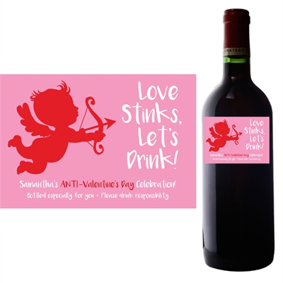 Cupid Anti-Valentine's Day Wine Champagne Bottle Label