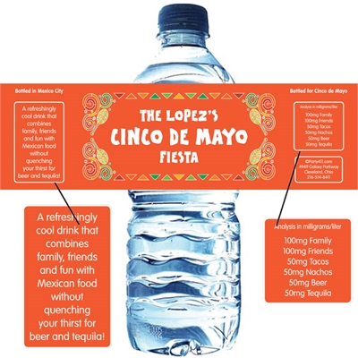 Mexican Fiesta Theme Water Bottle Label
