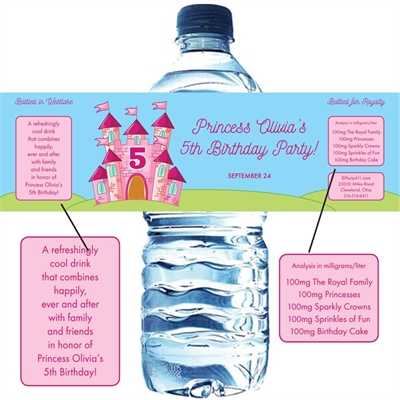 Birthday Castle Theme Water Bottle Label