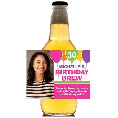 Birthday Balloons Pink Bottle Label, Beer