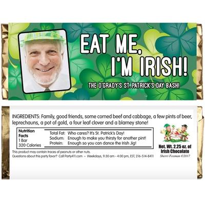St. Patrick's Day Green Shamrocks Theme Candy Bar Wrapper