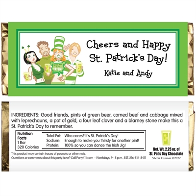 St. Patrick's Day Pub Theme Candy Bar Wrapper