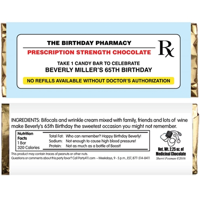Prescription to Party Theme Candy Bar Wrapper
