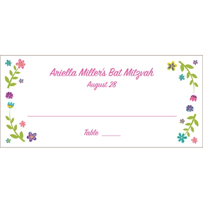 Bat Mitzvah Torah Flowers Theme Seating Card