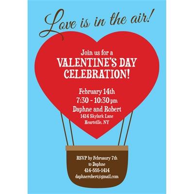Heart Hot Air Balloon Party Invitation
