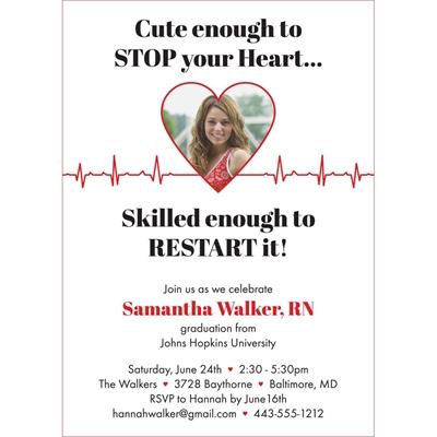 Nursing and Medical School Graduation EKG Invitation