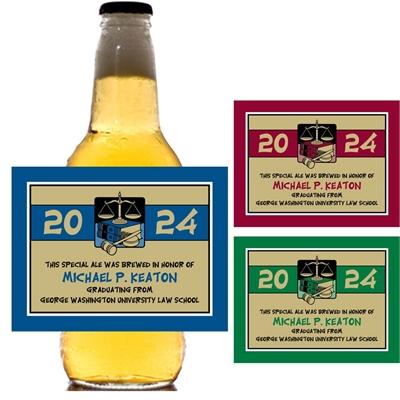 Graduation Law School Beer Bottle Label