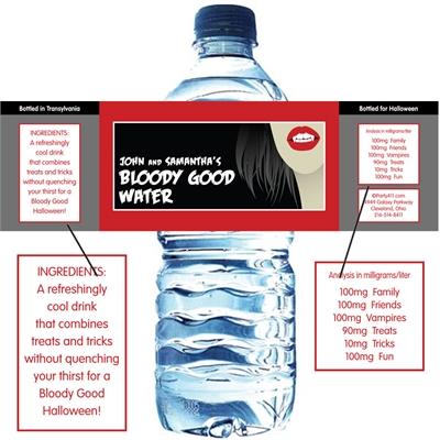 Halloween Vampire Water Bottle Label
