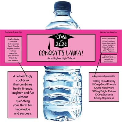 Graduation Cap Pink Theme Water Bottle Label