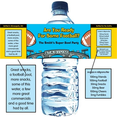Football Stadium Water Bottle Label