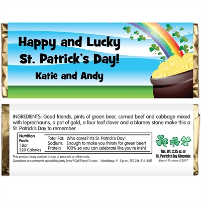 St. Patrick's Day Gold & Rainbow Theme Candy Bar Wrapper
