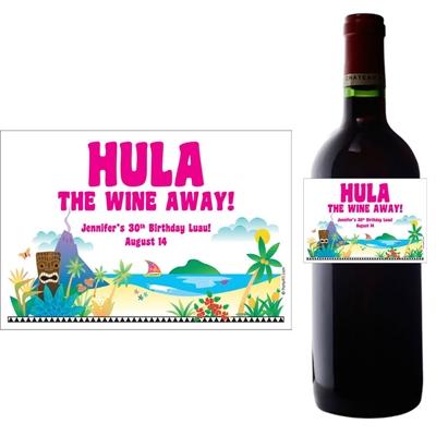 Luau Beach Wine Bottle Label